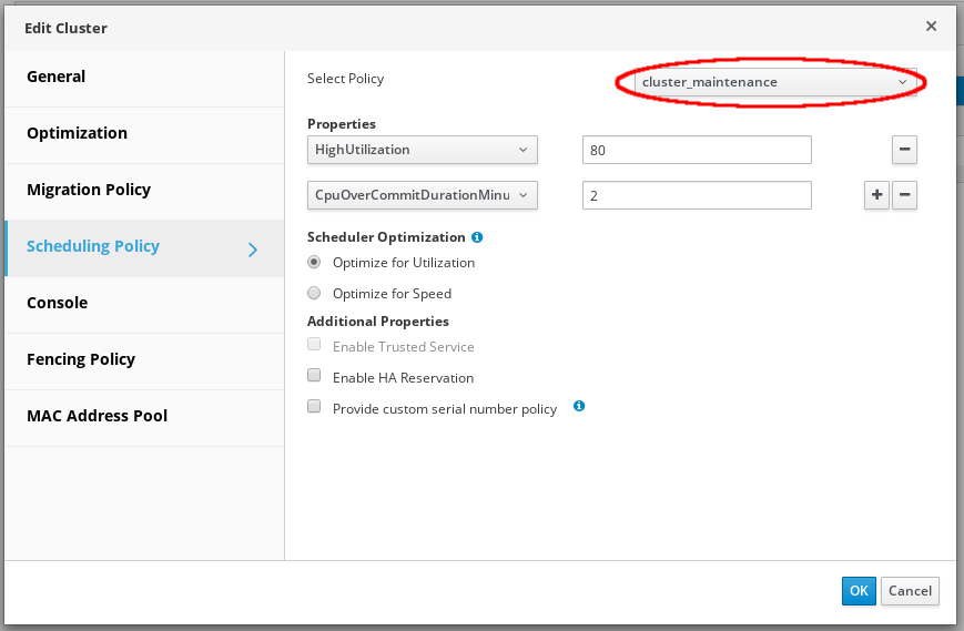 Cluster maintenance scheduling policy — oVirt